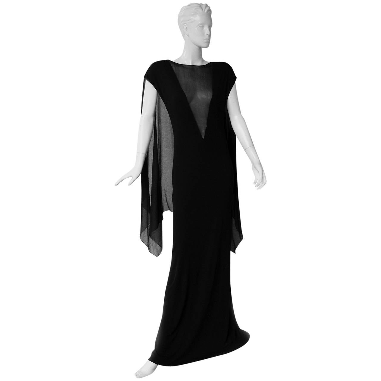 Jean Paul Gaultier Dramatic Goth Dress Gown with Flowing Cape   For Sale
