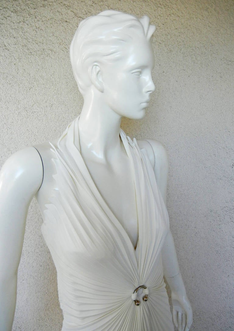 Thierry Mugler Siren gown inspired by Old Hollywood fashions of the 1930's.   Fashioned of white pleated viscose in a halter style featuring