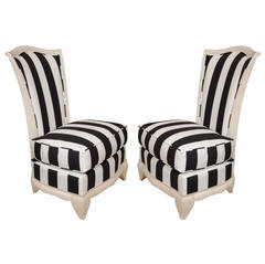 Pair of French Slipper Chairs with Cerused Frame in Marimekko Fabric, circa 1940