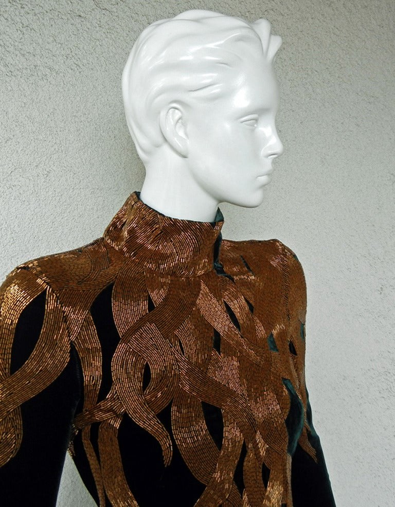 Alexander McQueen 2007 Velvet Flame Gown In New Never_worn Condition For Sale In Los Angeles, CA