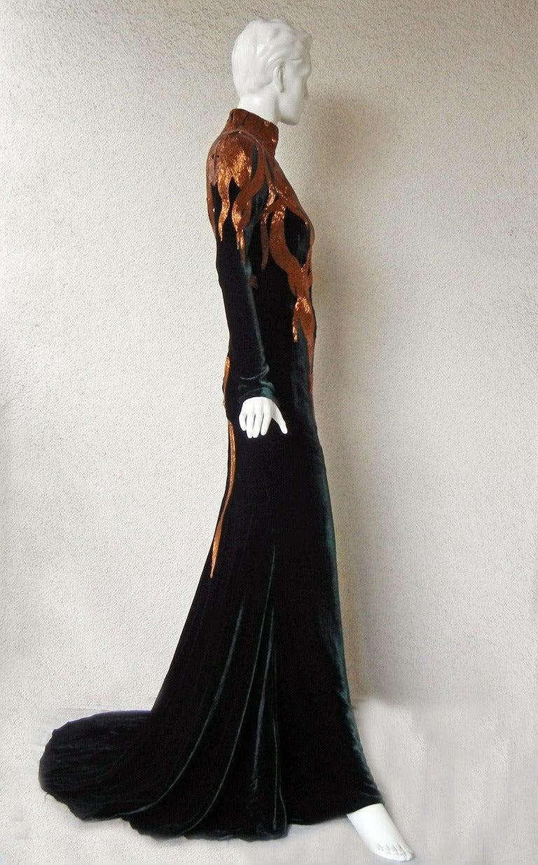 Alexander McQueen 2007 Velvet Flame Gown 5