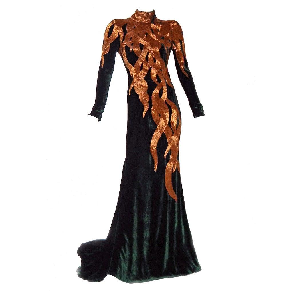 Alexander McQueen 2007 Velvet Flame Gown 1