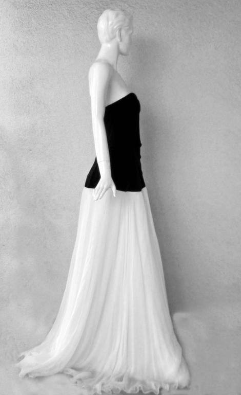 Gray Alexander McQueen Entrance Black Velvet White Chiffon Dress Gown  NEW For Sale
