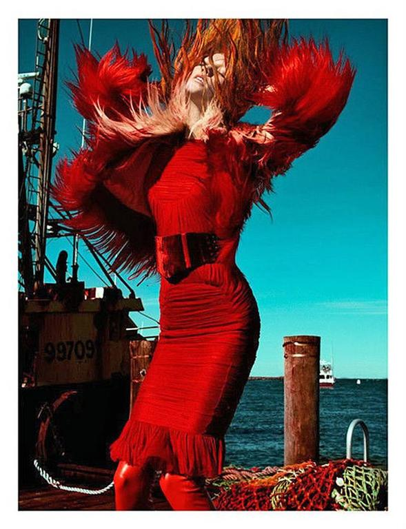Tom Ford Bergdorf Ad Campaign Cherry Red Ruched Evening Dress 5