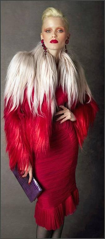 NWT $18K Tom Ford Ad Campaign Bergdorf Red Ombre Fur Store Sellout Jacket In New never worn Condition For Sale In Los Angeles, CA