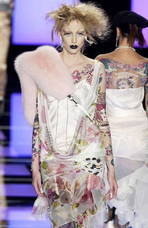 "Gray Rare Christian Dior Galliano ""J'Adore 2004 Tattoo Leggings Bodysuit Flapper Dres For Sale"