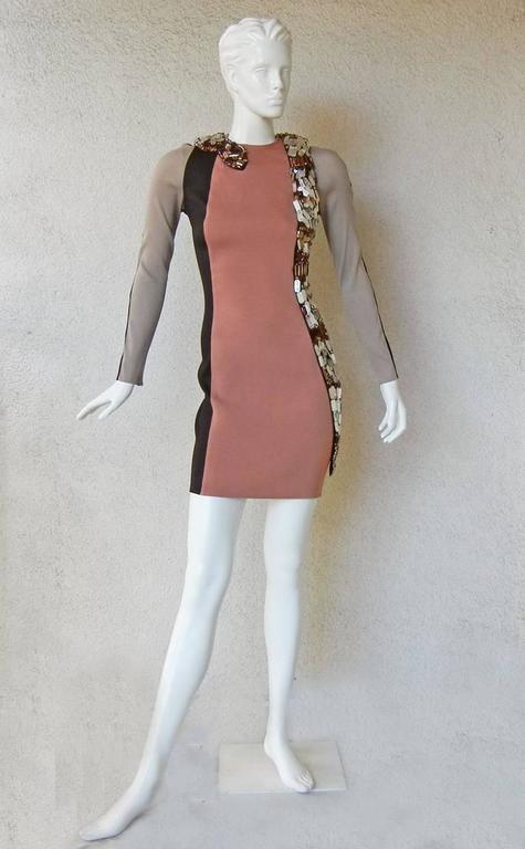 Brown Lanvin J-Lo Jeweled Serpent Colorblock Dress For Sale