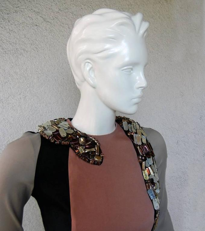 Lanvin J-Lo Jeweled Serpent Colorblock Dress In New Condition For Sale In Los Angeles, CA