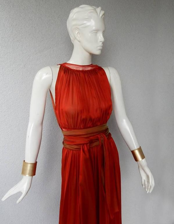 Red Jean Paul Gaultier Diaphanous Cayenne Silk Obi Belt Maxi Dress For Sale