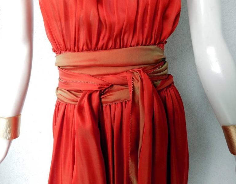 Jean Paul Gaultier Diaphanous Cayenne Silk Obi Belt Maxi Dress In New Condition For Sale In Los Angeles, CA
