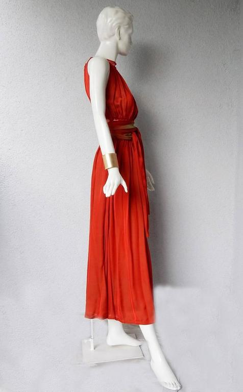 Women's Jean Paul Gaultier Diaphanous Cayenne Silk Obi Belt Maxi Dress For Sale