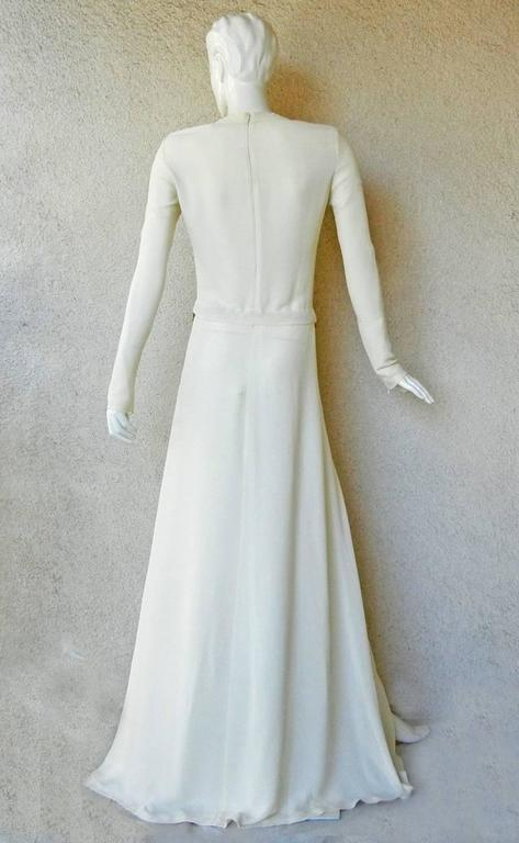 Alexander McQueen 2006 Winter White Thigh High Slit Dress Gown  In Excellent Condition For Sale In Los Angeles, CA