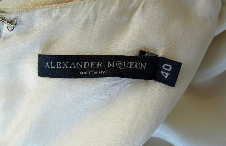Women's  Alexander McQueen 2006 Winter White Thigh High Slit Dress Gown  For Sale