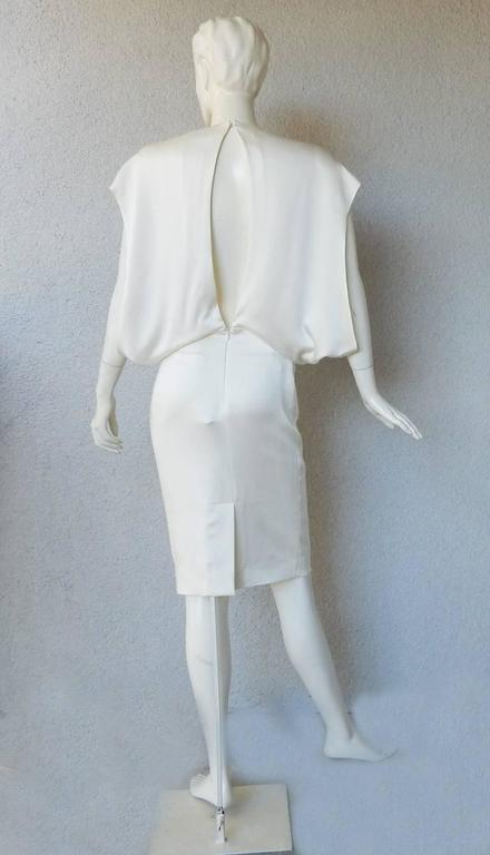 Gray Tom Ford Winter White Plunging Neckline Evening Dress For Sale