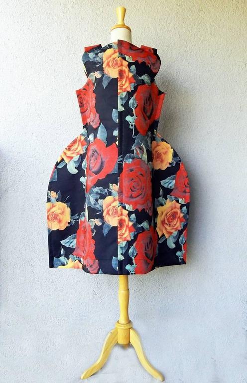 Pink Comme des Garcons Tri-Dimensional Floral Pattern Flat Dress For Sale