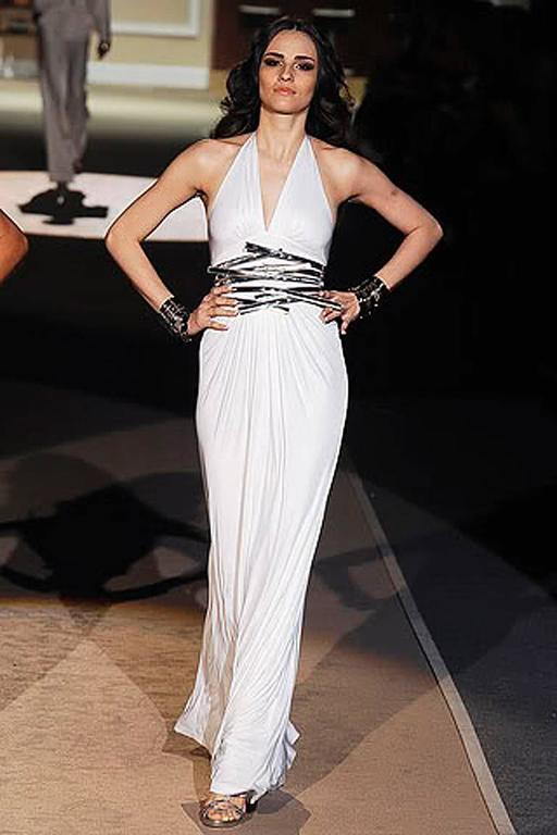 Dsquared stunning white jersey gown with plunging neckline and wide geometric pattern gold leather belt. Open back. Back zipper closure. 