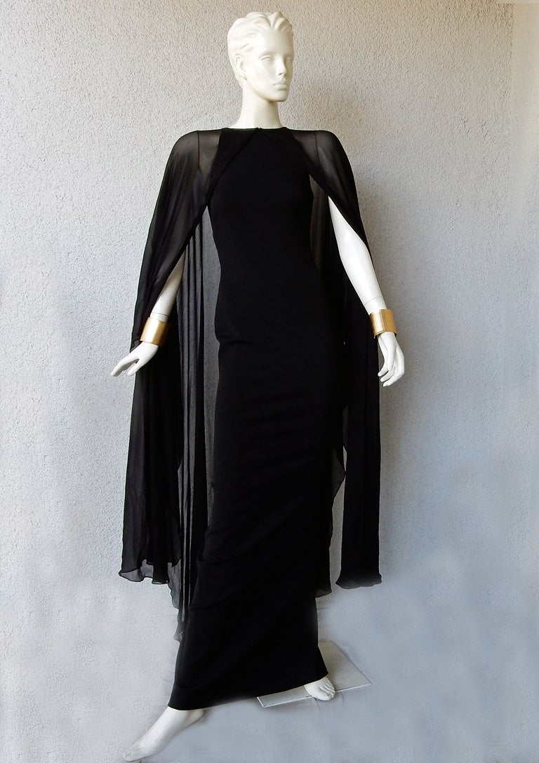 00e39d1c75ce7 Tom Ford Signature Black Body Hugging Gown with Cape For Sale at 1stdibs