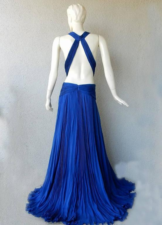 Women's Roberto Cavalli Sapphire Blue Red Carpet Goddess Gown  New! For Sale