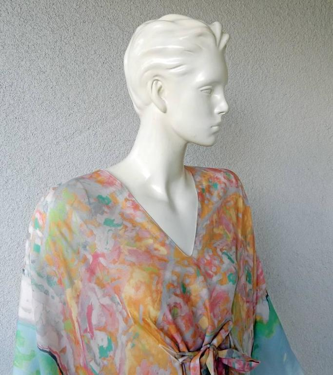 Gray Chanel French Riviera Caftan Dress with Painterly Quality For Sale