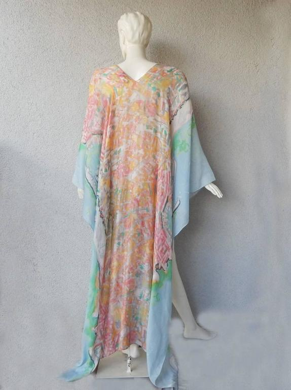 Chanel French Riviera Caftan Dress with Painterly Quality In Excellent Condition For Sale In Los Angeles, CA