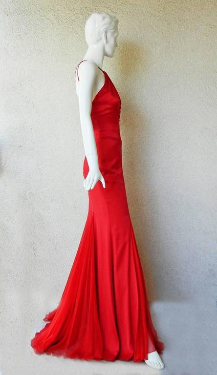 Versace Sharon Stone Red Silk Bias Cut Gown worn on the Red Carpet 2