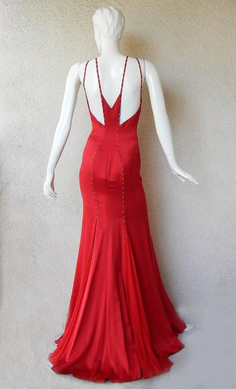 Versace Sharon Stone Red Silk Bias Cut Gown worn on the Red Carpet 3