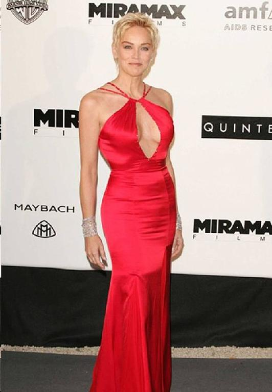 Versace Sharon Stone Red Silk Bias Cut Gown worn on the Red Carpet 6