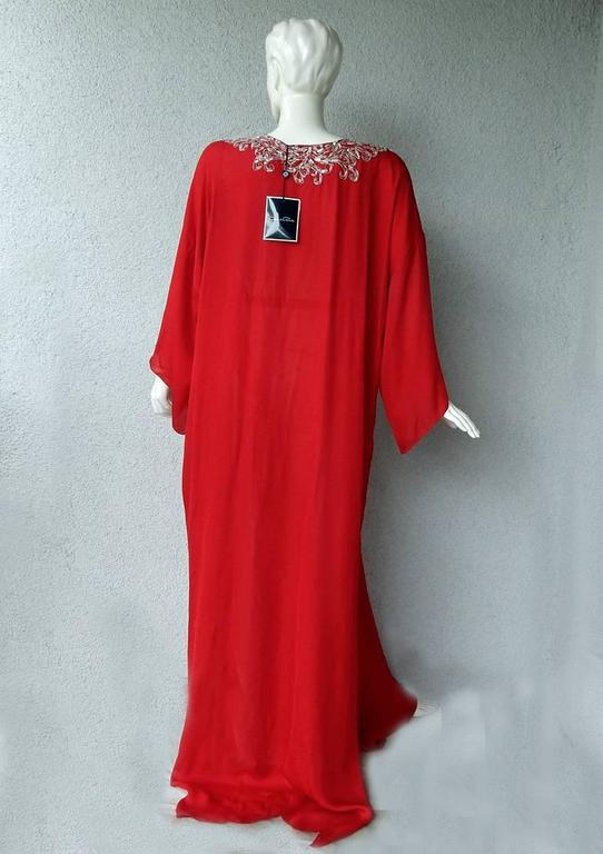 Women's Oscar de la Renta Embroidered Silk Caftan with matching dress  New!  Price Drop! For Sale
