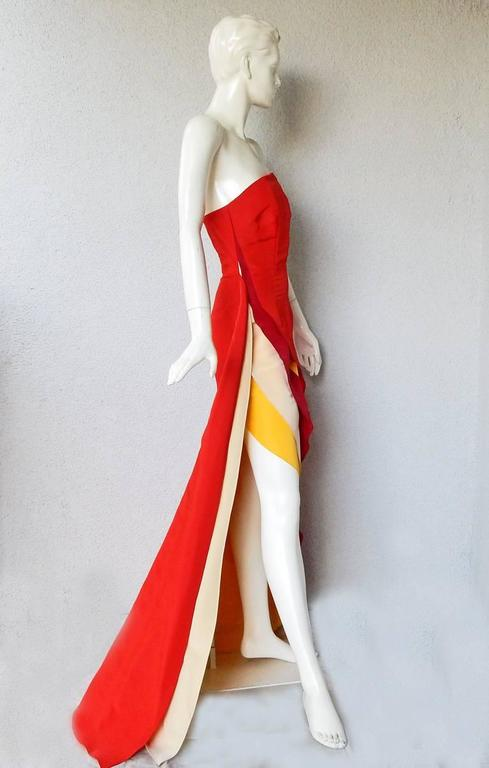 Red Rosie Assoulin Exotic AsymmetricColorblock Dress Gown For Sale