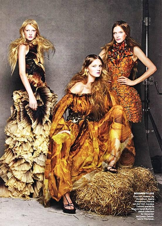 Brown Alexander McQueen Off Shoulder Gilded Goddess Gown For Sale
