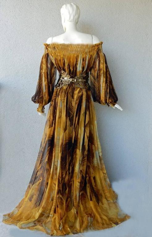 Alexander McQueen Off Shoulder Gilded Goddess Gown 8