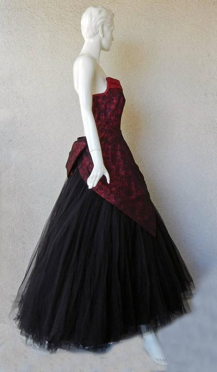 Jacques Heim Haute Couture Chantilly Lace & Tulle Evening Dress Gown 3