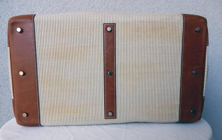 Rare Vintage Hermes 50cm Leather & Crinoline Travel Bag 3
