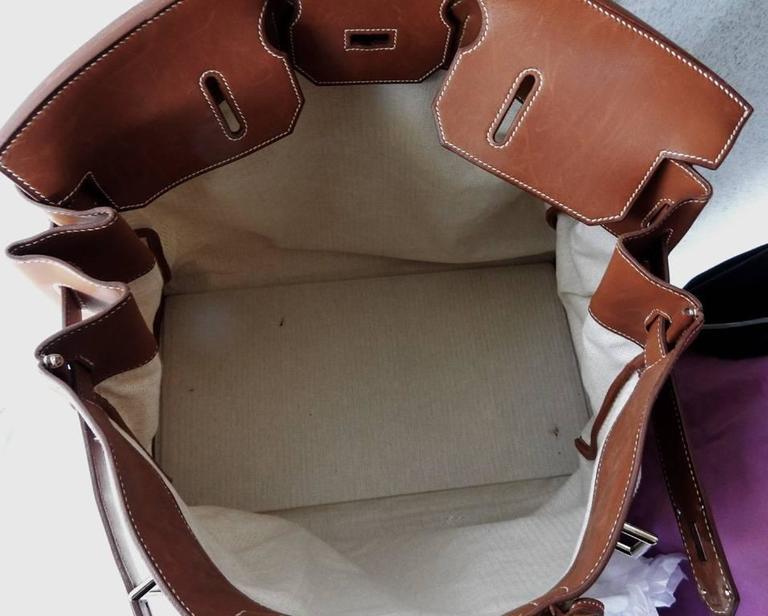 Rare Vintage Hermes 50cm Leather & Crinoline Travel Bag 5
