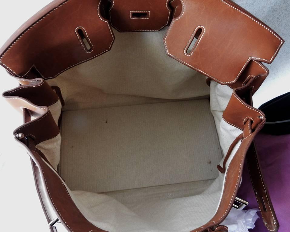 ce7d13f13a1e0 Rare Vintage Hermes 50cm Leather and Crinoline Travel Bag at 1stdibs