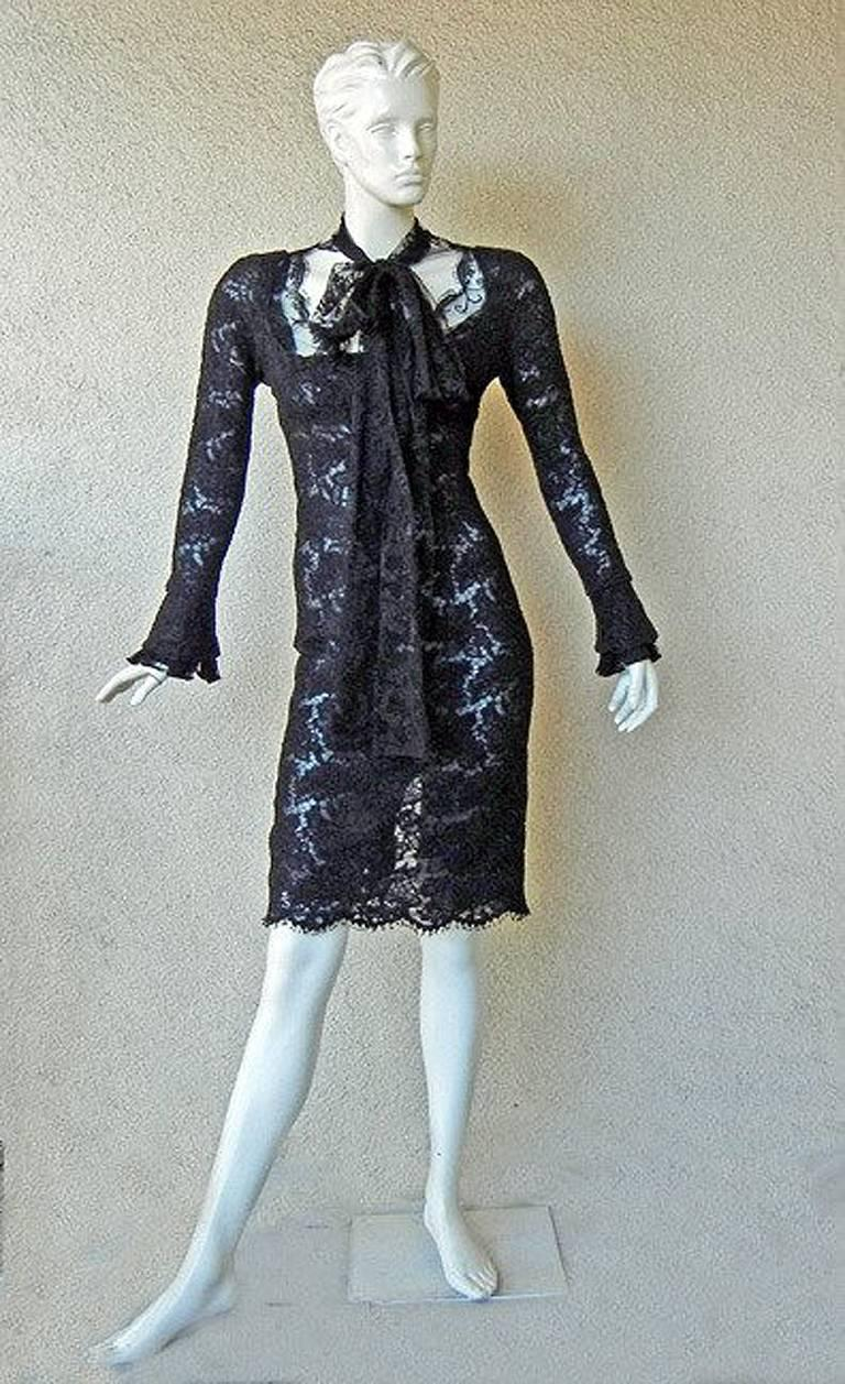 Tom Ford for YSL Devilishy Decadent Black Chantilly Lace Evening Dress In Excellent Condition For Sale In Los Angeles, CA
