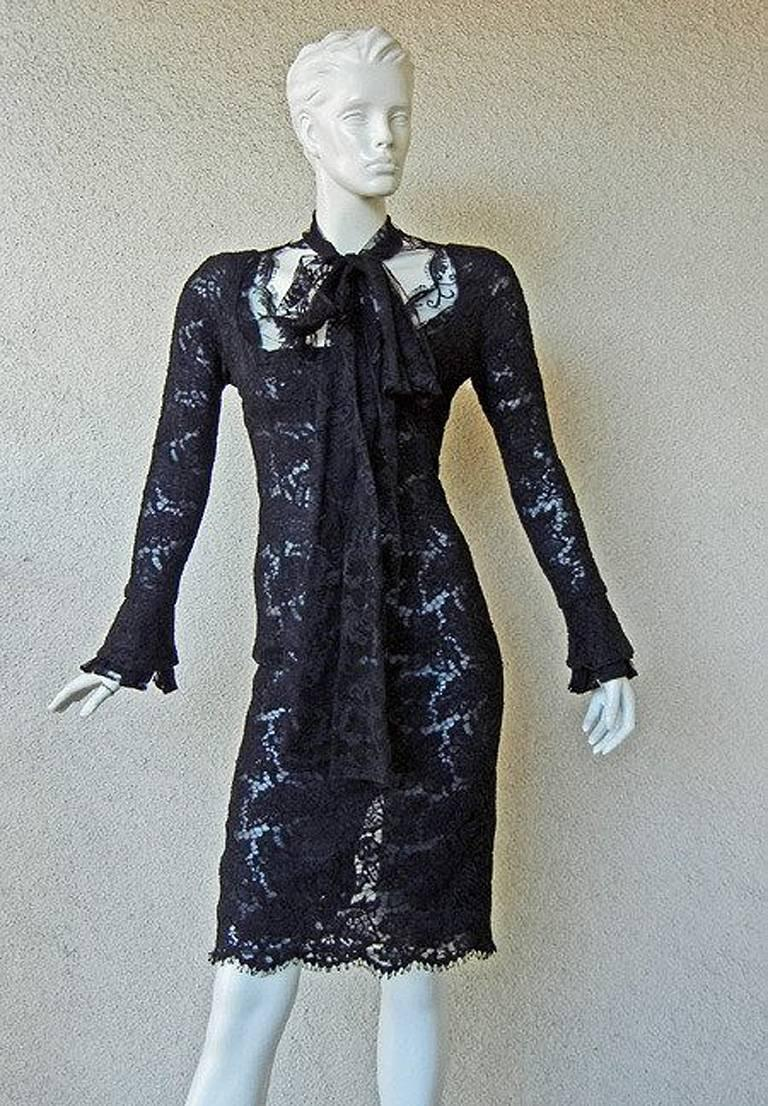 Women's Tom Ford for YSL Devilishy Decadent Black Chantilly Lace Evening Dress For Sale
