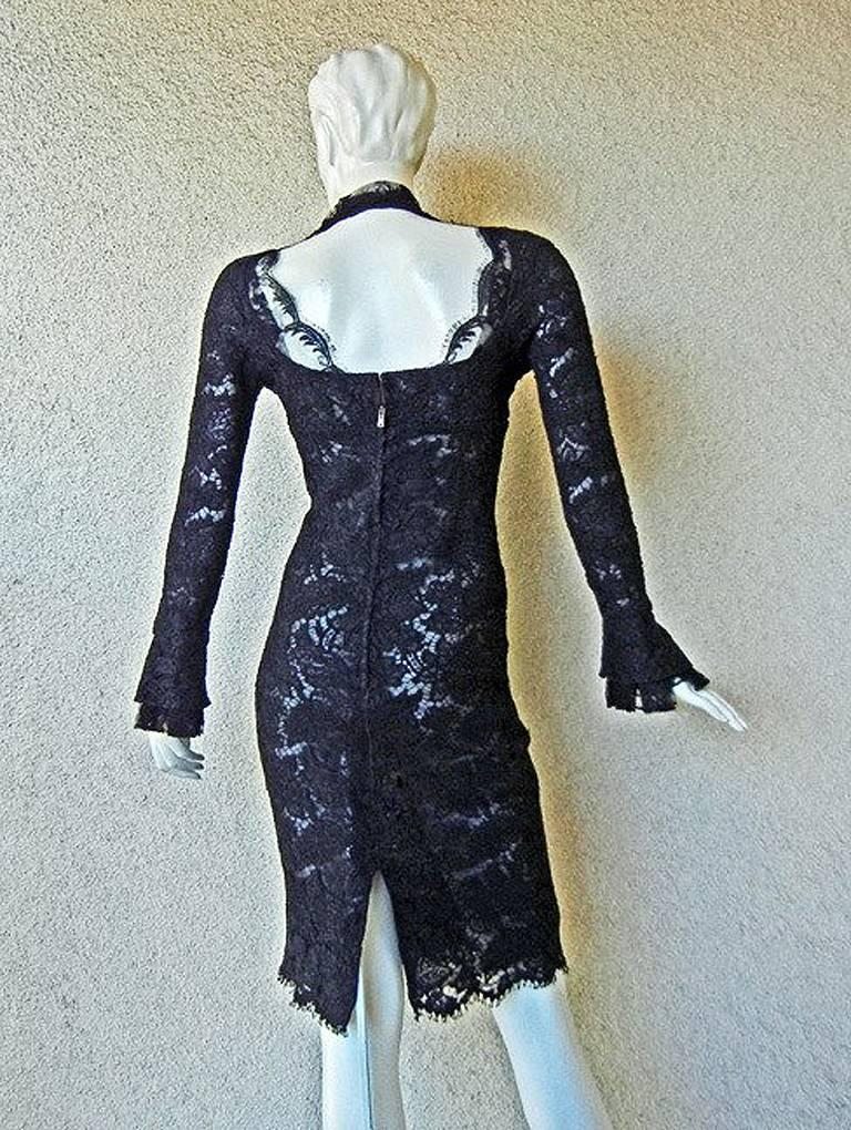 Tom Ford for YSL Devilishy Decadent Black Chantilly Lace Evening Dress For Sale 1