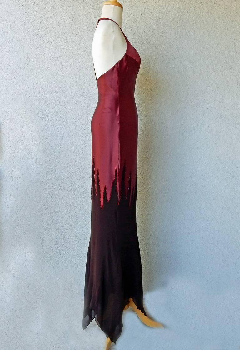 Thierry Mugler Deco Crystal Studded Flame Evening Dress In Excellent Condition For Sale In Los Angeles, CA