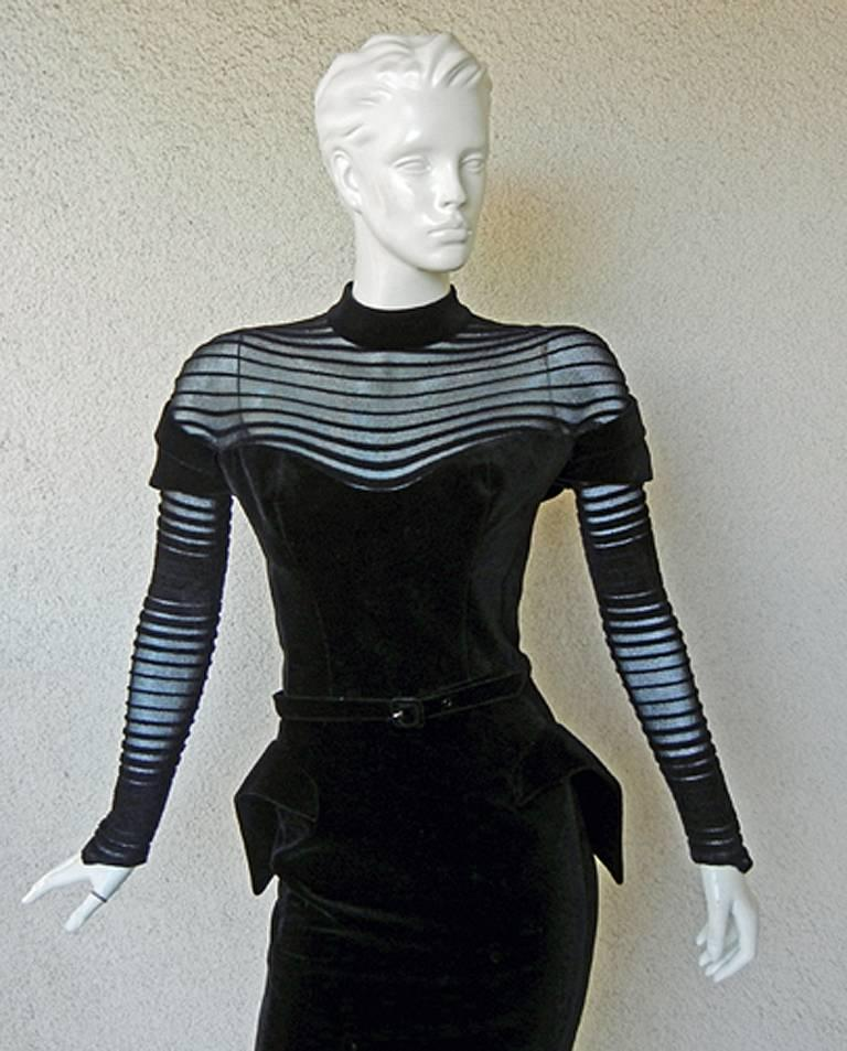 Black  Thierry Mugler Dramatic Iconic Siren Dress in Galaxy Book  Collectors! For Sale