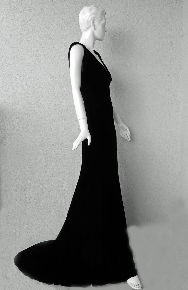 Alexander McQueen 2007 Luscious Black Velvet Bias Cut Dress Gown In New Never_worn Condition For Sale In Los Angeles, CA