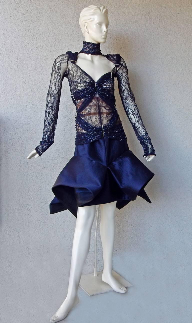 Black  Gianfranco Ferre Favorite Avant Garde Beaded Blue Evening Dress   NEW For Sale
