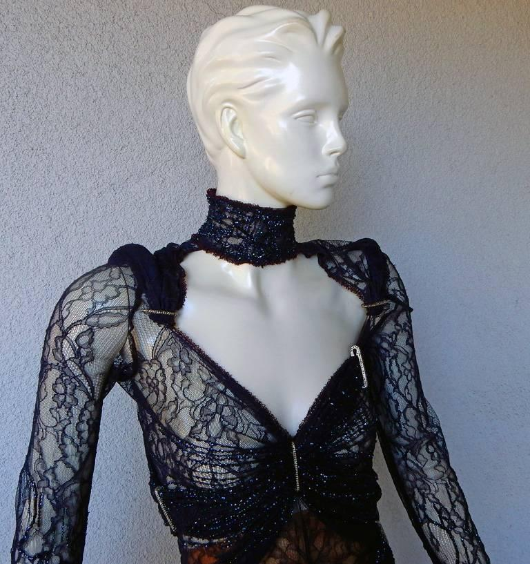 Gianfranco Ferre Favorite Avant Garde Beaded Blue Evening Dress   NEW In New Condition For Sale In Los Angeles, CA