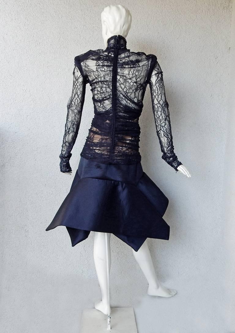 Gianfranco Ferre Favorite Avant Garde Beaded Blue Evening Dress   NEW For Sale 1