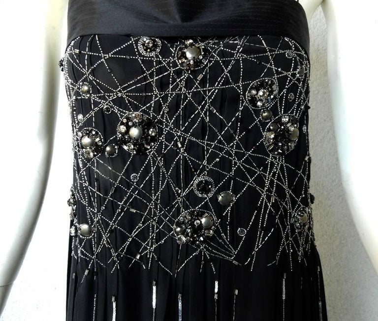 NWT Gianfranco Ferre Black Silk Handkerchief Hem Glitter Gown In New Condition For Sale In Los Angeles, CA
