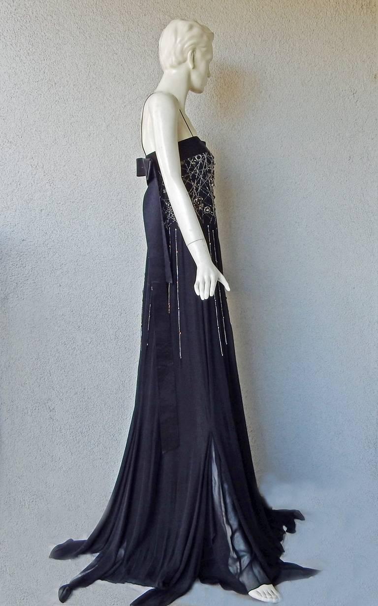 NWT Gianfranco Ferre Black Silk Handkerchief Hem Glitter Gown For Sale 1