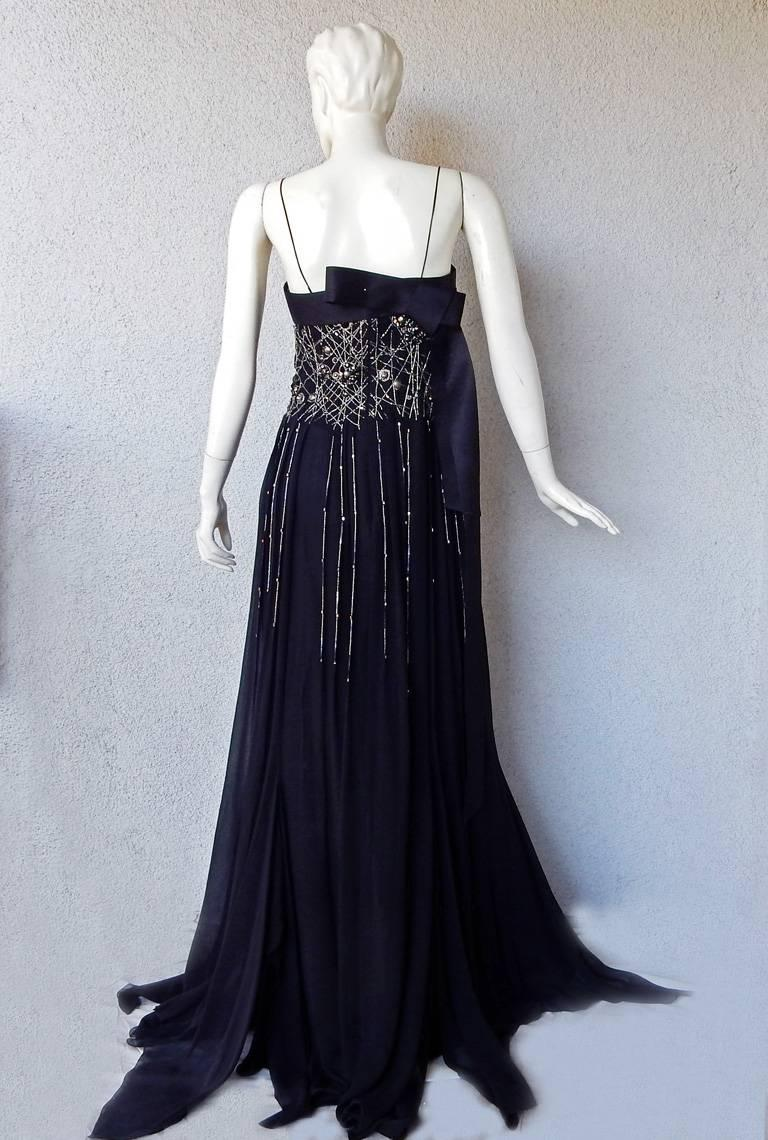 NWT Gianfranco Ferre Black Silk Handkerchief Hem Glitter Gown For Sale 2
