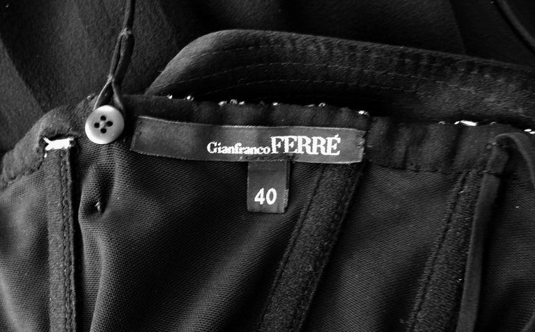 NWT Gianfranco Ferre Black Silk Handkerchief Hem Glitter Gown For Sale 3