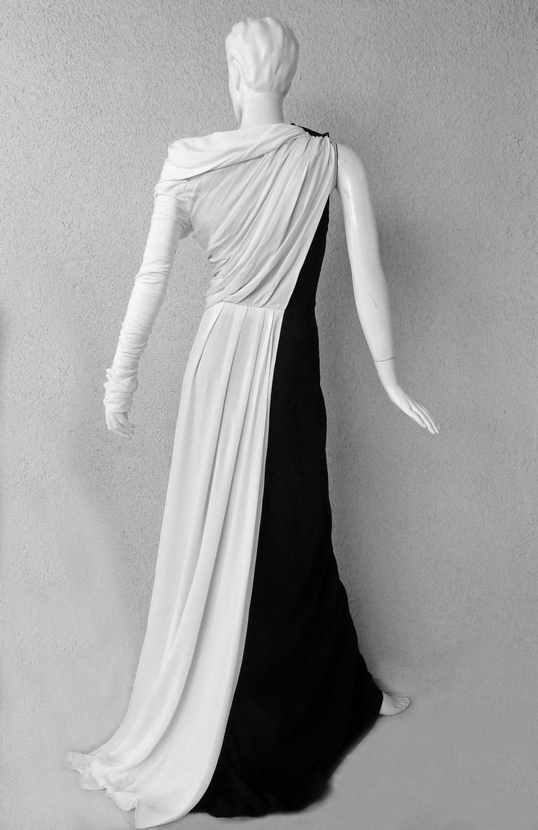 Vionnet Grecian Draped Single Shoulder  Black & White Dress Gown  In New Condition For Sale In Los Angeles, CA
