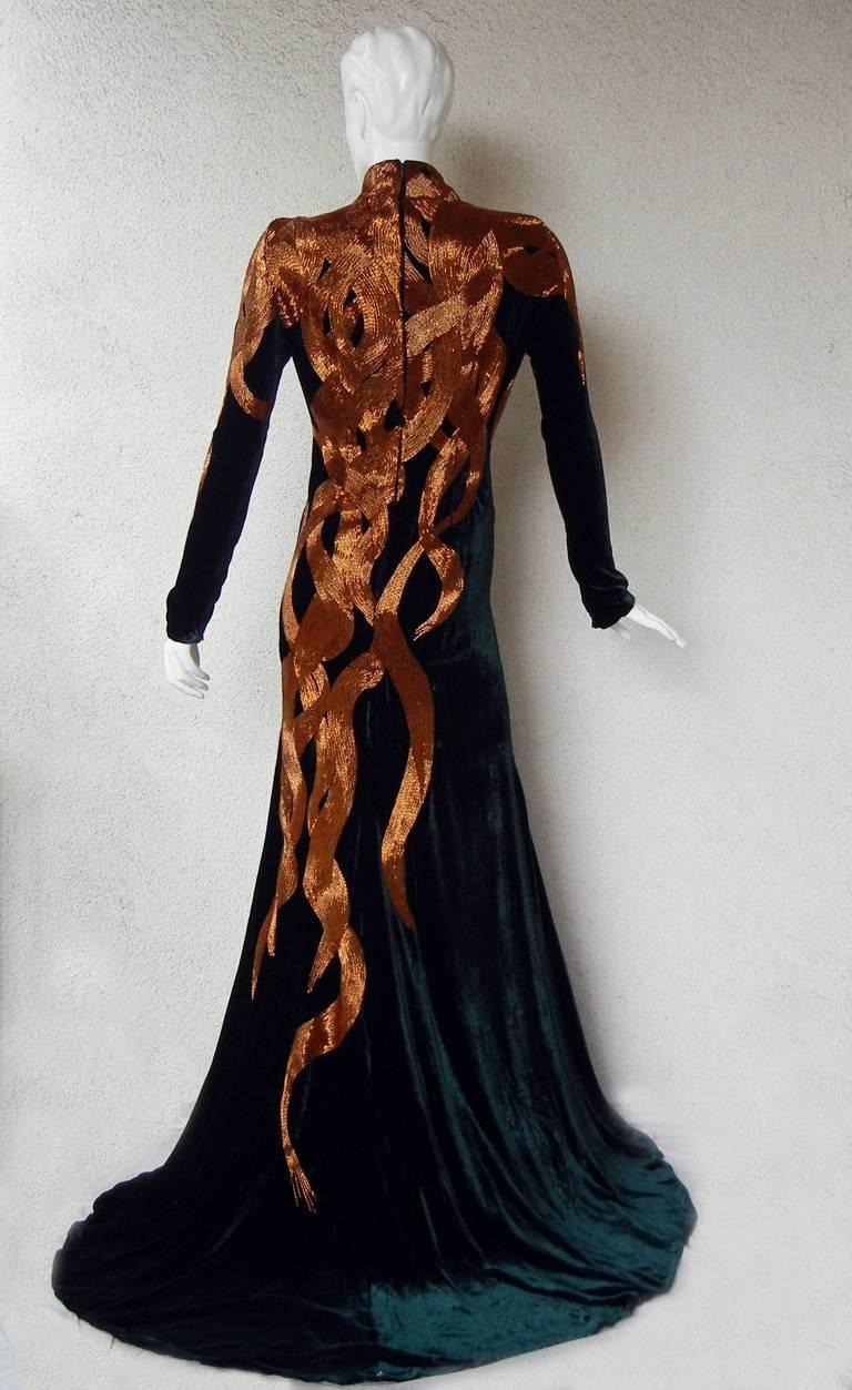 Women's The NWT Alexander McQueen 2007 Velvet Beaded Flame Gown  Entrance Maker!  For Sale